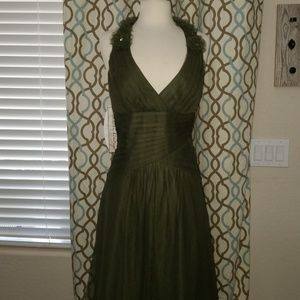 Bridesmaid, formal olive mesh dress
